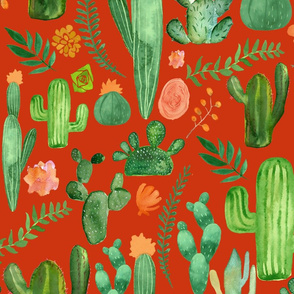 Green Cactus Pattern on Red Background