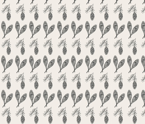 Snowshoes + Pine cones fabric by outside_the_line on Spoonflower - custom fabric