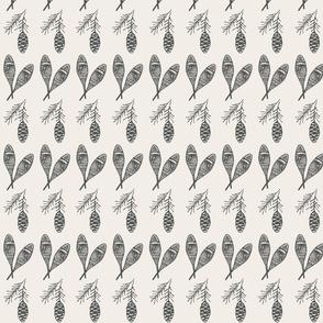 Snowshoes + Pine cones