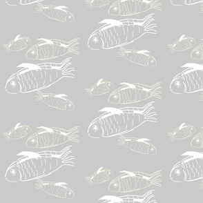 Swimming fish on grey background