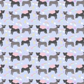 Pitbull (Small scale) unicorn magic rainbows fabric dog breed pastel purple