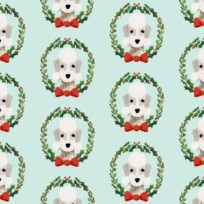 Bedlington Terrier christmas wreath dog breed fabric green