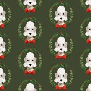 Bedlington Terrier christmas wreath dog breed fabric green