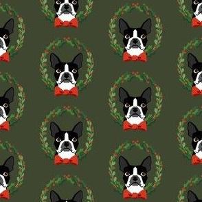 Boston Terrier christmas wreath dog breed fabric green