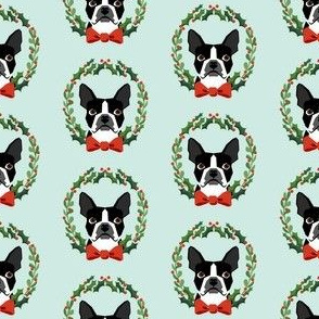 Boston Terrier christmas wreath dog breed fabric blue