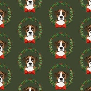 Boxer christmas wreath dog breed fabric green
