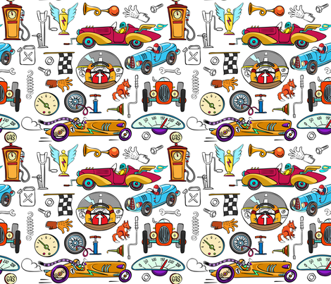 4wheels pattern fabric by blackfeathergrass on Spoonflower - custom fabric