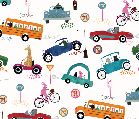 Animals in Cars fabric by scarlette_soleil on Spoonflower - custom fabric