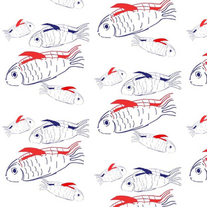 Swimming fish in red, white and blue