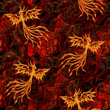Rising of the Phoenix fabric by stradling_designs on Spoonflower - custom fabric