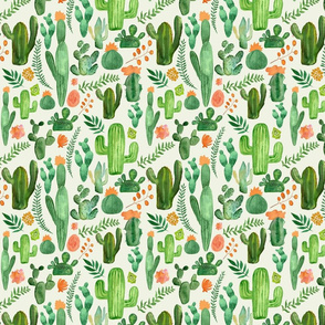Darker green cactus and orange flowers on cream background