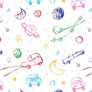 cars and stars - children's drawing