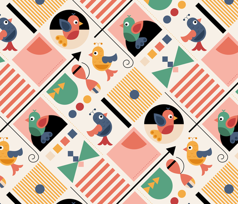 bauhaus-birds fabric by la_fabriken on Spoonflower - custom fabric