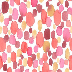Watercolor Dots in Red, Pink, Orange and Yellow