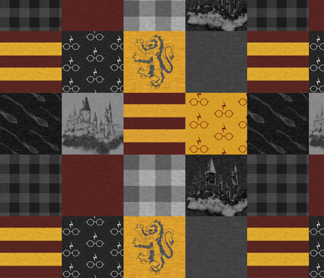 """4.5"""" witches and wizards wholecloth quilt - gold and burgundy fabric by sugarpinedesign on Spoonflower - custom fabric"""