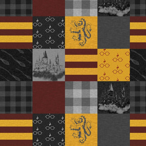 "4.5"" witches and wizards wholecloth quilt - gold and burgundy"