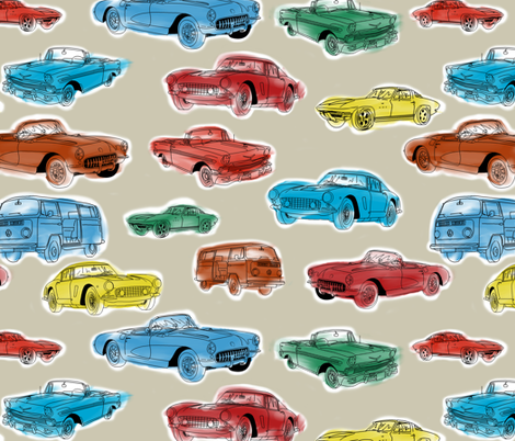 Classic Cars on Silver fabric by house_of_heasman on Spoonflower - custom fabric
