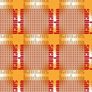 bauhaus grid glow - red/khaki/sun