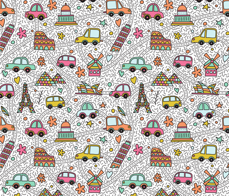 Cars and landmarks fabric by pippi-draws on Spoonflower - custom fabric