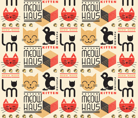 MEOWHAUS fabric by pinkowlet on Spoonflower - custom fabric