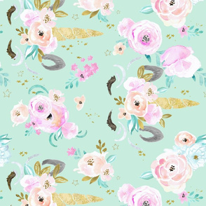 unicorn floral-minty-blue-green-rotate