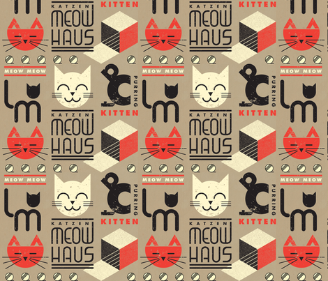 MEOWHAUS on BROWN PAPER fabric by pinkowlet on Spoonflower - custom fabric