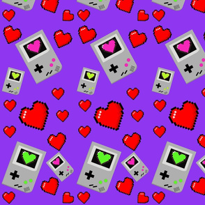 gameboy and hearts purple