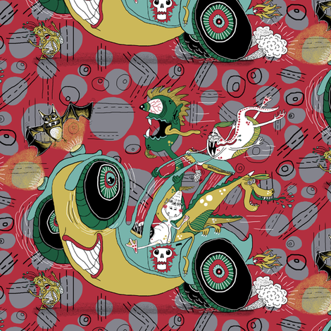 get in the car, we're goin' for a ride! large scale, red gray grey fabric by amy_g on Spoonflower - custom fabric