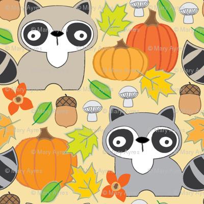 fall raccoons on cream