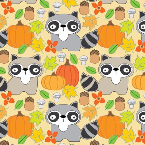 fall raccoons on cream fabric by lilcubby on Spoonflower - custom fabric