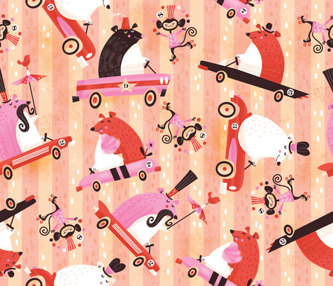 Bears in Cars Going to the Circus fabric by cynthiafrenette on Spoonflower - custom fabric