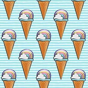 pastel rainbow icecream cones - blue stripes