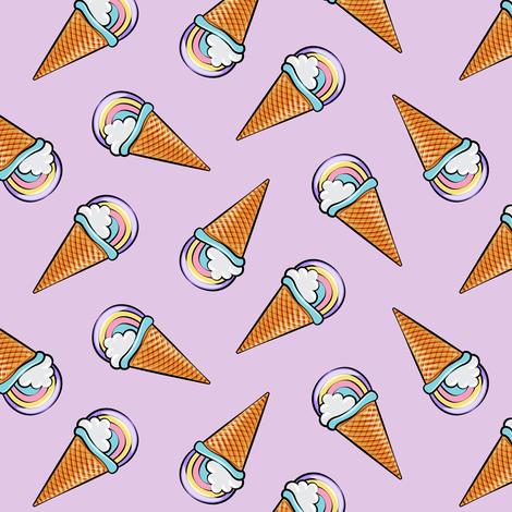 pastel rainbow icecream cones on purple (toss) fabric by littlearrowdesign on Spoonflower - custom fabric