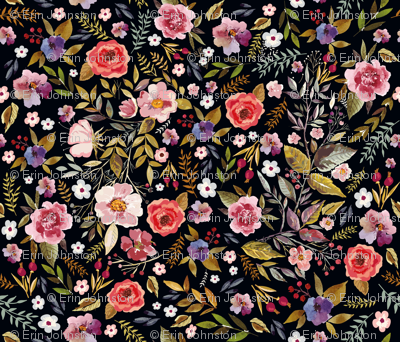 Wildflower Vintage Floral with Blackest Background Moody Floral Prints