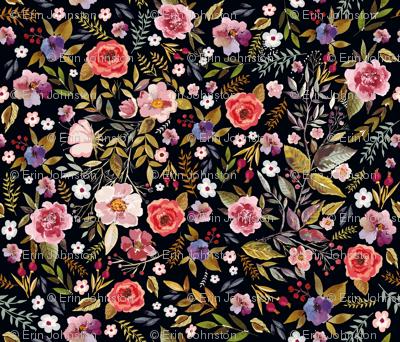Wildflower Vintage Floral with Blackest Background Moody Floral Prints