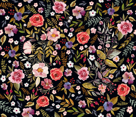 Wildflower Vintage Floral with Blackest Background Moody Floral Prints fabric by kookinutsfabricco on Spoonflower - custom fabric