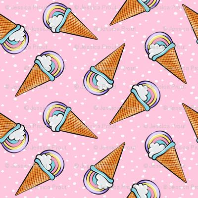 pastel rainbow icecream cones on pink with dots (toss ...
