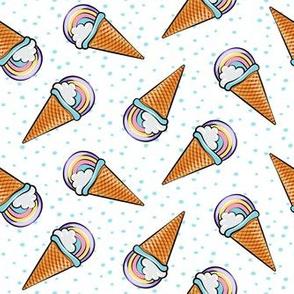 pastel rainbow icecream cones on with blue dots (toss)