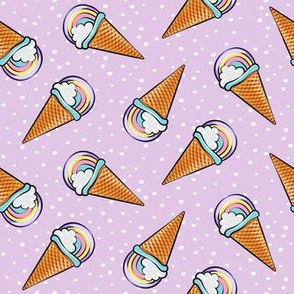 pastel rainbow icecream cones on purple with dots (toss)