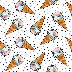 pastel rainbow cones on with black dots (toss)