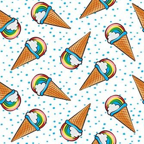 rainbow cones on with blue dots (toss)