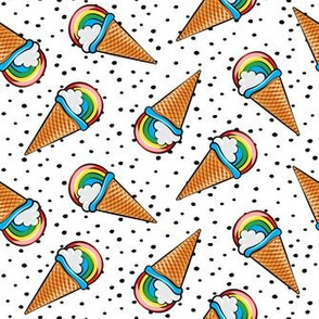 rainbow icecream cones on with black dots (toss)