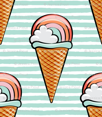 rainbow icecream cones (sherbet) on aqua stripes fabric ...