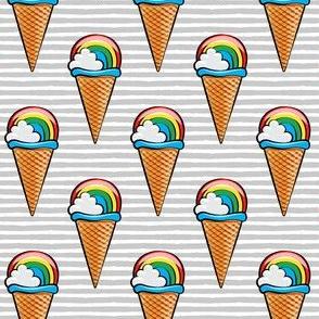 rainbow icecream cones on grey stripes