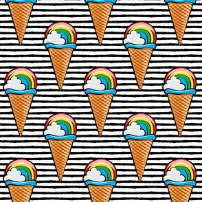 rainbow icecream cones on black stripes