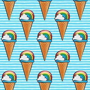 rainbow icecream cones on blue stripes