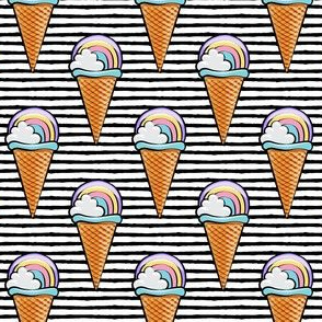 pastel rainbow icecream cones - black stripes