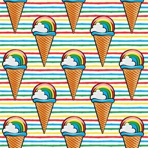 rainbow icecream cones on rainbow stripes