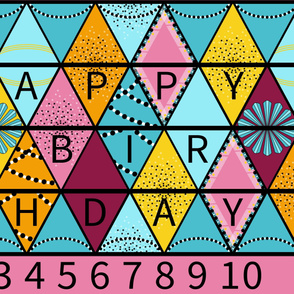 Happy Birthday Bunting in Pink and Aqua