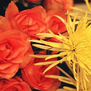 YellowMums OrangeRosesTeaTowel